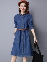 ชุดเดรสยีนส์สไตล์เกาหลี แถมเข็มขัด เนื้อผ้าดีสวมใส่สะบาย งานนำเข้าแบรนด์แท้คุณภาพดี