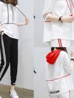 ชุดเซ็ท ชุดลำลอง ชุดสันทนาการกีฬา เสื้อแขน3ส่วนมีฮู้ด กางเกงขายาวแถบข้าง 2เส้น มี 2 สีค่ะ