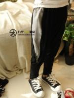 กางเกงเด็ก แต่งด้วยซิป ด้านข้างเทห์ๆ สไตล์เกาหลี ผ้าเนื้อนุ่ม ใส่สบาย