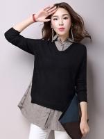 เสื้อสไตล์เกาหลี ผ้านิตติ้งตัดต่อผ้าฝ้าย ปกเชิ้ต เนื้อผ้าดีสวมใส่สะบาย งานนำเข้าแท้คุณภาพดี