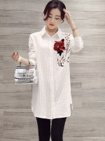 เสื้อเชิ้ตตัวยาวสไตล์เกาหลี แต่งดีเทลปักดอกไม้ด้านหน้าเก๋ๆ เนื้อผ้าดีสวมใส่สะบาย งานนำเข้าแท้คุณภาพดี