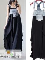 ชุดเอี๊ยมยีนส์แต่งผ้าสีดำบางเบาใส่สบายมากค่ะ