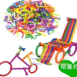 เกมส์ฝึกสมอง ชุดของเล่นการศึกษา ข้อต่อ ตัวต่อ แบบแท่ง ตัวล๊อก 260 ชิ้น แบบกล่อง คละรูปทรง stick diy puzzle