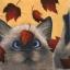 แนวภาพสัตว์ น้องแมวน้อยสีสวาท เล่นกับใบไม้ บนพื้นครีม ภาพโทนสีครีม เป็นภาพ 4 บล๊อค กระดาษแนพกิ้นสำหรับทำงาน เดคูพาจ Decoupage Paper Napkins ขนาด 33X33cm thumbnail 1