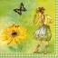 แนวภาพลายการ์ตูน เด็กสาว กับ ดอกไม้ และ ผีเสื้อ เป็นภาพโทนสีเหลือง เป็นภาพ 4 บล๊อค กระดาษแนพกิ้นสำหรับทำงาน เดคูพาจ Decoupage Paper Napkins ขนาด 33X33cm thumbnail 1