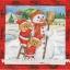 กระดาษสาพิมพ์ลาย สำหรับทำงาน เดคูพาจ Decoupage แนวภาพ หมี Teddy หมีแซนต้าครอส ช่วยกันสร้าง ตุ๊กตาหิมะ Snowman ในกรอบแดง thumbnail 1