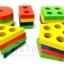 บล็อคไม้เรขาสวมหลัก 5 รูปทรง ใหญ่ ของเล่นไม้เสริมสร้างการเรียนรู้สวมหลักรูปทรงเรขาคณิตฯ thumbnail 3