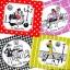 แนวภาพการ์ตูน ผู้หญิงกับหมาคู่ใจ ภาพโทนสีสรรสดใส เป็นภาพ 4 บล๊อค กระดาษแนพกิ้นสำหรับทำงาน เดคูพาจ Decoupage Paper Napkins ขนาด 33X33cm thumbnail 1