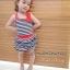 Huanzhu kids ชุดเดรสเด็กหญิง ลายริ้ว สีน้ำเงิน-ขาว น่ารัก สไตล์เกาหลี thumbnail 1