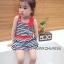 Huanzhu kids ชุดเดรสเด็กหญิง ลายริ้ว สีน้ำเงิน-ขาว น่ารัก สไตล์เกาหลี thumbnail 2