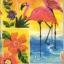 แนวภาพสัตว์ นก คู่นกฟลามิงโก บนพื้นสีชมพูหวานสดใส กระดาษแนพคินสำหรับทำงาน เดคูพาจ Decoupage Paper Napkins 8 ภาพในแผ่น ขนาด 21X22cm thumbnail 1