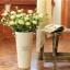 Pre-Order ถังใส่ดอกไม้ เหล็กเคลือบสี ทรงสูง มีหู ลาย Original Sweet Flowers 2 ใบเซต มี 6 สี thumbnail 7