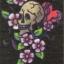 แนวภาพอาร์ต ภาพหัวกะโหลกใตดอกไม้ บนพื้นสีดำ เป็นภาพ 8 บล๊อค กระดาษแนพคินสำหรับทำงาน เดคูพาจ Decoupage Paper Napkins ขนาด 21X22cm thumbnail 1