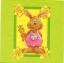 แนวภาพการ์ตูน น้องกระต่ายถือแครอท ในกรอบ ภาพโทนสีเขียว เป็นภาพ 4 บล๊อค กระดาษแนพกิ้นสำหรับทำงาน เดคูพาจ Decoupage Paper Napkins ขนาด 33X33cm thumbnail 1