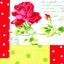 แนวภาพดอกไม้ ดอกกุหลาบสีแดงสด บนพื้นลายสีจุด ภาพโทนผ้าลายสีลายจุดต่อ เป็นภาพ 4 บล๊อค กระดาษแนพกิ้นสำหรับทำงาน เดคูพาจ Decoupage Paper Napkins ขนาด 33X33cm thumbnail 1