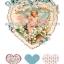 กระดาษสาพิมพ์ลาย rice paper สำหรับทำงานฝีมือ เดคูพาจ Decoupage แนวภาพ คิวปิดน้อยในหัวใจลายฉลุสีฟ้ารายล้อมไปด้วยมวลหมู่ดอกไม้ ปลาดาวดีไซน์ thumbnail 1