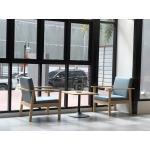 โต๊ะกลางขาแชมเปญ+เก้าอี้อาร์มแชร์ เบาะเทา วางที่ไหน สวยที่นั่น
