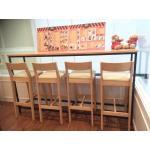 โต๊ะเคาน์เตอร์บาร์ไม้จริง ขาเหล็กสีดำ สำหรับร้านอาหาร ร้านกาแฟ