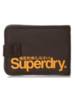 Superdry - Small Tarp Wallet สีดำ/โลโก้ ส้ม Black / Jaffa Orange