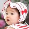 หมวกผูกเชือกใต้คาง ลายจุด สีหวาน (แดง ขาว ชมพู) น่ารักสไตล์เกาหลี