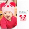 หมวกรูปหมีแพนด้า สีชมพูน่ารักสไตล์เกาหลี