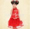 ชุดเซ็ท เด็กหญิง เสื้อคล้องคอ +กระโปรง ปักลายสีแดงมาใหม่ สีสันสดใส น่ารัก