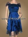 ชุดราตรีผ้าไหมสีน้ำเงินแบบมีแขนตกแต่งลวดลายปราณีตวิจิตรสวยหรู เอวแต่งผ้าโปร่งน่ารักมาก