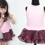 ชุดเด็ก(เดรส) pink ideal ลายเสือ ชมพู ไซส์ 13
