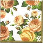 แนวภาพดอกไม้ เป็นช่อดอกกุหลาบ บนพื้นขาว เป็นภาพกระจายเต็มแผ่น กระดาษแนพกิ้นสำหรับทำงาน เดคูพาจ Decoupage Paper Napkins ขนาด 33X33cm สำเนา