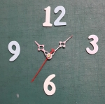 ชุดตัวเครื่องนาฬิกาญื่ปุนเดินเรียบ เข็มลายโมเดิน ขนาดเล็ก เข็มสั้น-เข็มยาวสีชมพู เข็มวินาทีสีแดง อุปกรณ์ DIY