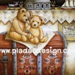 กระดาษอาร์ทพิมพ์ลาย สำหรับทำงาน เดคูพาจ Decoupage แนวภาพ  Teddy bear หมี เท็ดดี้ แบร์ นั่งบนกล่องใส่ของ ปลาดาว ดีไซน์