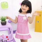 ชุดเด็ก(เดรส)สาวน้อยทูโทน(Pink) ไซส์ 100,110,130