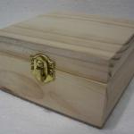 """ชิ้นงานดิบไม้สน ทำ Decoupage งานเพนท์ กล่องไม้สนแบบมีล็อค ทรงจตุรัส ไซด์เล็ก 5"""" x 5"""" x 2.75"""""""