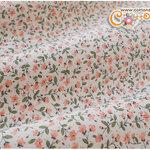 ผ้าคอตตอนไทยลายดอกไม้สีโอลด์โรส (ขนาด 50x55ซม)