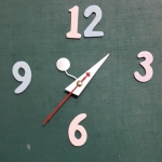 ชุดตัวเครื่องนาฬิกาญื่ปุนเดินเรียบ เข็มลายโมเดิน ขนาดเล็ก เข็มสั้น-เข็มยาวสีเงิน เข็มวินาทีสีแดง อุปกรณ์ DIY