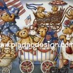 กระดาษอาร์ทพิมพ์ลาย สำหรับทำงาน เดคูพาจ Decoupage แนวภาพ  หมี เท็ดดี้แบร์ Teddy bear เดินพาเหรดขบวนรถเข็นเด็ก (pladao design)