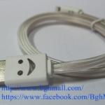 สายชาร์จ Iphone 5, Iphone 5s, IPAD MINI LIGHTNING CABLE แบบมีไฟ เปลี่ยนสีได้ - ขาว