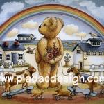 กระดาษอาร์ทพิมพ์ลาย สำหรับทำงาน เดคูพาจ Decoupage แนวภาพ Teddy Bear หมี เท็ดดี้ กับสายรุ้ง