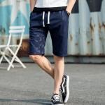 กางเกงขาสั้นแฟชั่้นเกาหลี ลายกราฟฟิคในตัว สีกรมท่า