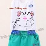 ชุดเด็กแมวเหมียวสีเขียว(เซท) ไซส์ 7 (เสื้อเด็ก+กางเกงเด็ก)