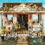 กระดาษอาร์ทพิมพ์ลาย สำหรับทำงาน เดคูพาจ Decoupage แนวภาพ หมี เท็ดดี้ แบร์ Teddy bear กับเพื่อน บ้านริมทะเล (pladao design)