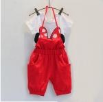 ชุดเสื้อขาว Mickey + กางเกงเอี๊ยมสีแดง ไซส์ 7-9-11-13-15