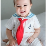 บอดี้สูทเด็ก ลายทหารเรือขาว-แดง ไซส์ 70