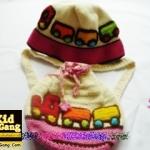 หมวกเด็กฝ้ายถัก+กระเป๋าเป้เด็ก แบบรถไฟ สีครีม-ชมพู Handmade