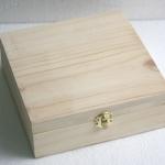 """ชิ้นงานดิบไม้สน ทำ Decoupage งานเพนท์ กล่องไม้สนแบบมีล็อค ทรงผืนผ้า ไซด์ใหญ่ 8""""x8""""x3"""""""