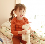 ชุดเด็กหญิงลายลูกหมีสีอิฐ ไซส์ 100,130