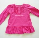 เสื้อเด็กเล็ก ชมพูเข้มมีระบาย ไซส์ 6 เดือน