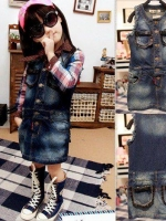 ชุดแซ็กยีนส์แขนกุด เซอร์ๆ เนื้อผ้าดีมาก (ไม่รวมเสื้อเชิ้ตนะคะ)  สไตล์เด็กเกาหลี น่ารัก