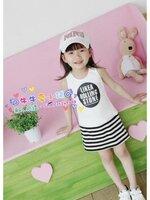 ชุดเดรส เด็กสีขาว สกีน Like a Rolling Stone  กระโปรงลายริ้วสีขาว-ดำ  สไตล์เด็กเกาหลี น่ารัก