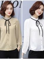 เสื้อสไตล์เกาหลี ผ่าหน้าติดกระดุม เนื้อผ้าดีสวมใส่สะบาย งานนำเข้าแบรนด์แท้ของเมืองนอกคุณภาพดี